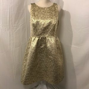 Kensie cutout fit and flare metallic gold dress